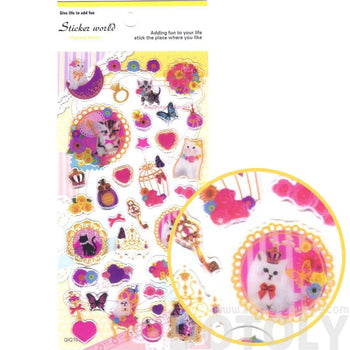 Kitty Cat Lace and Floral Girly Princess Animal Shaped Stickers for Scrapbooking | DOTOLY