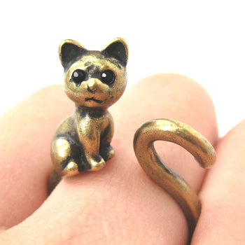 Kitty Cat Left Facing Animal Wrap Around Ring in Brass - Sizes 5 to 9 Available | DOTOLY