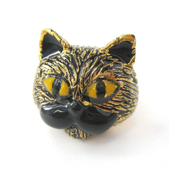 Kitty Cat Mustache Enamel Animal Ring in Black US Size 6.5 | Limited Edition | DOTOLY