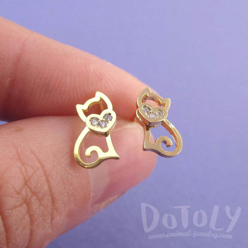 Kitty Cat Outline Shaped Rhinestone Allergy Free Stud Earrings in Gold