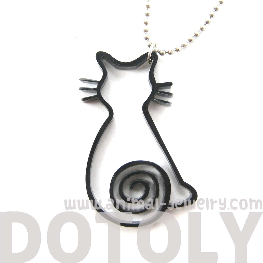 Kitty Cat Outline Shaped Animal Themed Pendant Necklace in Black Acrylic | DOTOLY