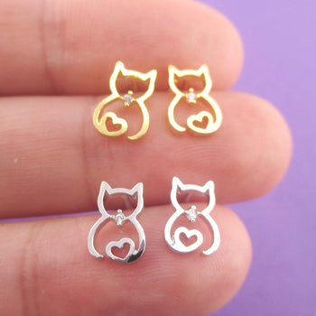 Kitty Cat Outline with Heart Shaped Tail Stud Earrings in Gold or Silver