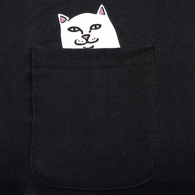 Kitty Cat Peek a Boo Swearing Pocket Tee T-Shirt in Black | DOTOLY