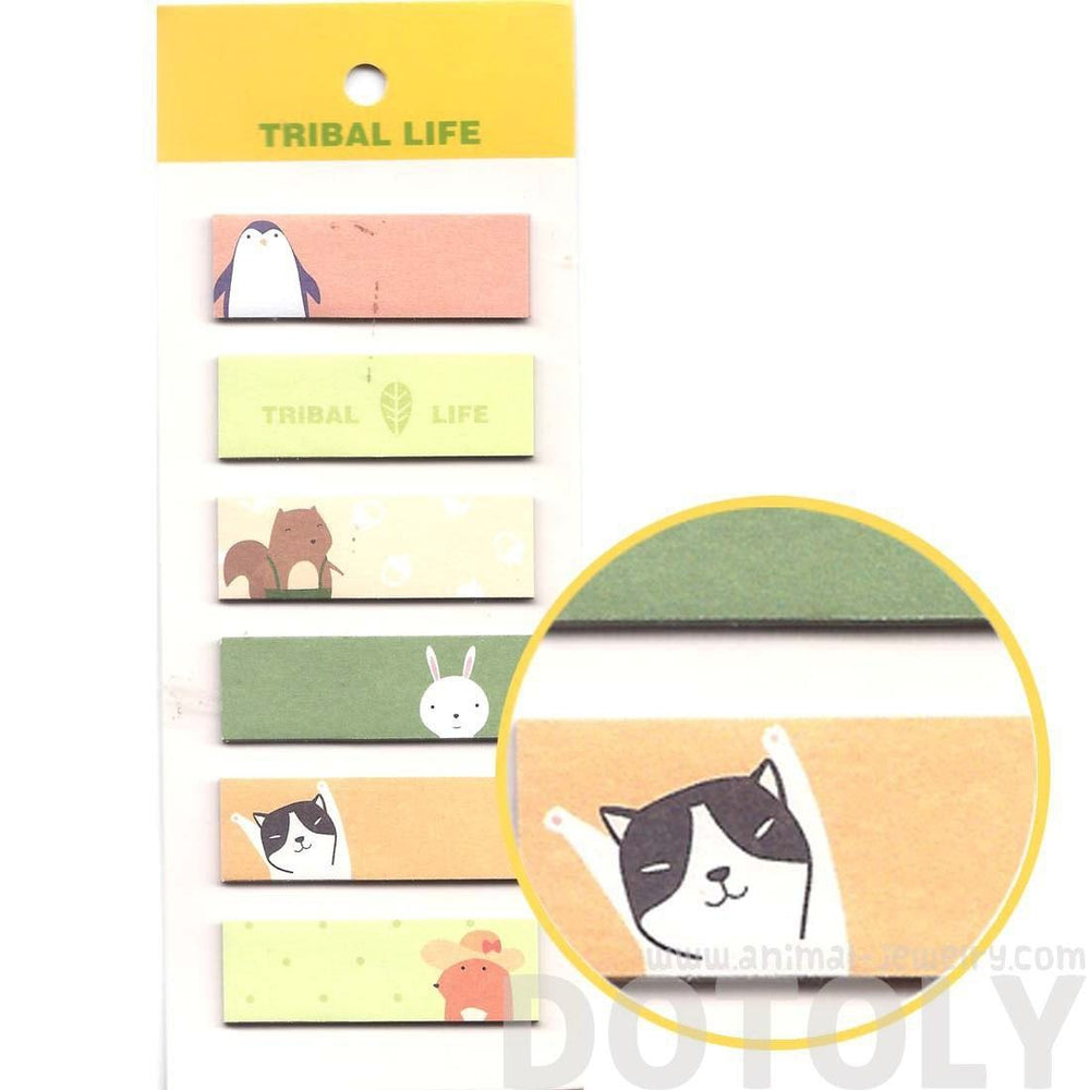 Kitty Cat Penguin Squirrel Bunny Animal Themed Rectangular Sticky Memo Post-it Note Tabs | DOTOLY