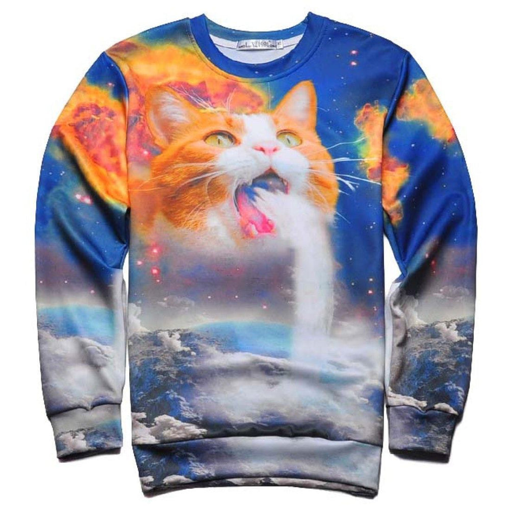 Kitty Cat Puking Waterfall in Space Digital Print Unisex Pullover Sweatshirt Sweater | DOTOLY
