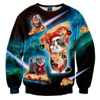Kitty Cat Riding Pizza in Space in Christmas Hats All Over Print Sweatshirt | DOTOLY
