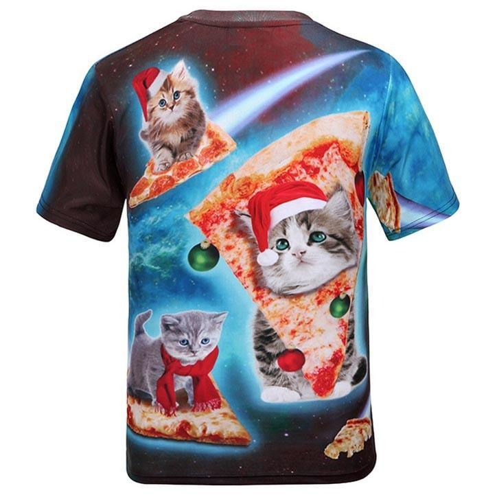 Kitty Cat Riding Pizza in Space in Christmas Hats All Over Print T-Shirt | DOTOLY