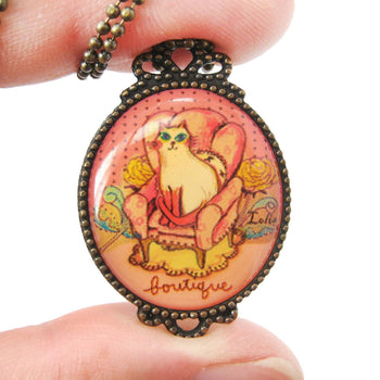 Kitty Cat Shaped Animal Portrait Illustration Oval Pendant Necklace | DOTOLY | DOTOLY