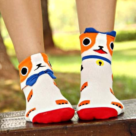 Kitty Cat Shaped Animal Short Cotton Socks for Women in White and Orange | DOTOLY | DOTOLY