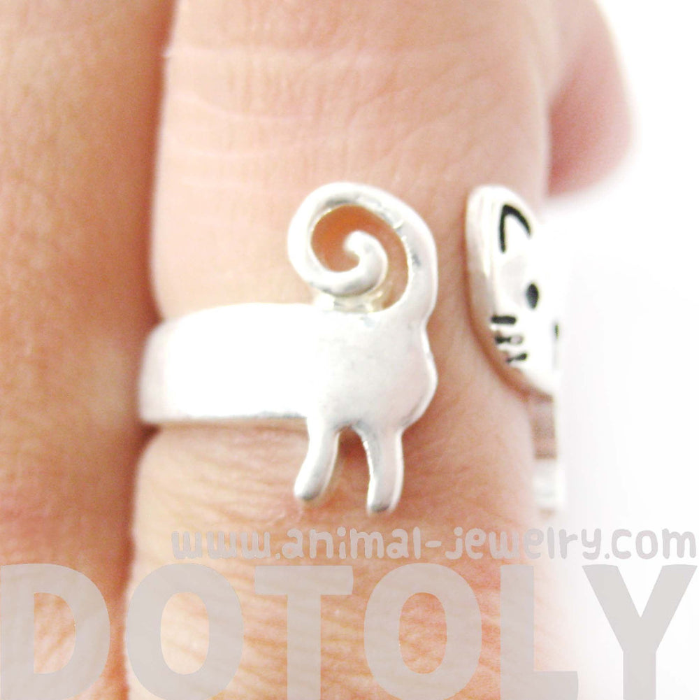 Kitty Cat Shaped Cartoon Animal Wrap Around Ring in Silver | DOTOLY | DOTOLY
