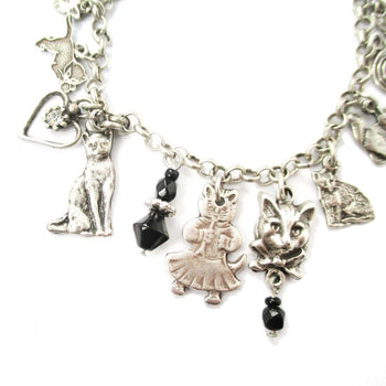 Kitty Cat Shaped Charm Bracelet in Silver | Jewelry for Cat Lovers | DOTOLY