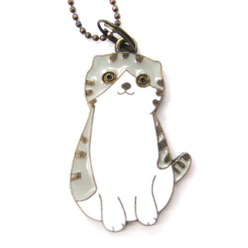 Kitty Cat Shaped Enamel Animal Pendant Necklace | Animal Jewelry | DOTOLY