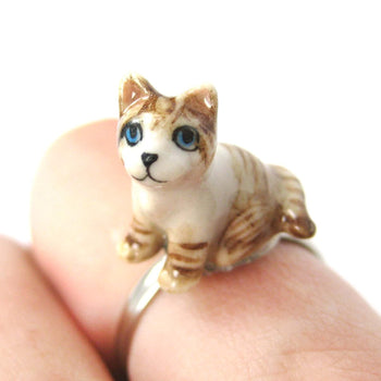 Kitty Cat Shaped Porcelain Ceramic Animal Adjustable Ring in Brown and White | Handmade | DOTOLY