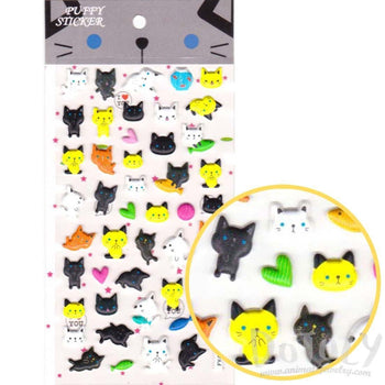 Kitty Cat Shaped Puffy Sticker Seals for Decorating in Black White and Yellow | DOTOLY