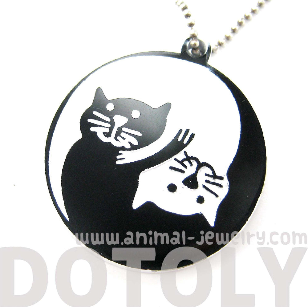 Kitty Cat Shaped Yin Yang Animal Themed Pendant Necklace in Black Acrylic | DOTOLY