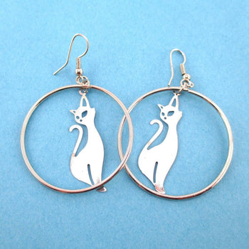 Kitty Cat Silhouette Filigree Cut Out Hoop Drop Earrings in Silver | DOTOLY | DOTOLY