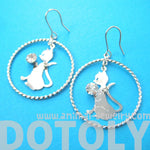 Kitty Cat Silhouette Hoop and Rhinestones Dangle Earrings in Silver | Animal Jewelry | DOTOLY