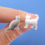 Kitty Cat Silhouette Pet Themed Mix and Match Stud Earrings in Silver
