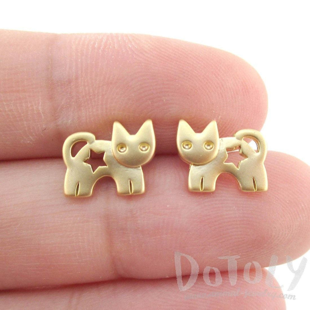 Kitty Cat Silhouette with Star Cut Out Shaped Stud Earrings in Gold | DOTOLY | DOTOLY