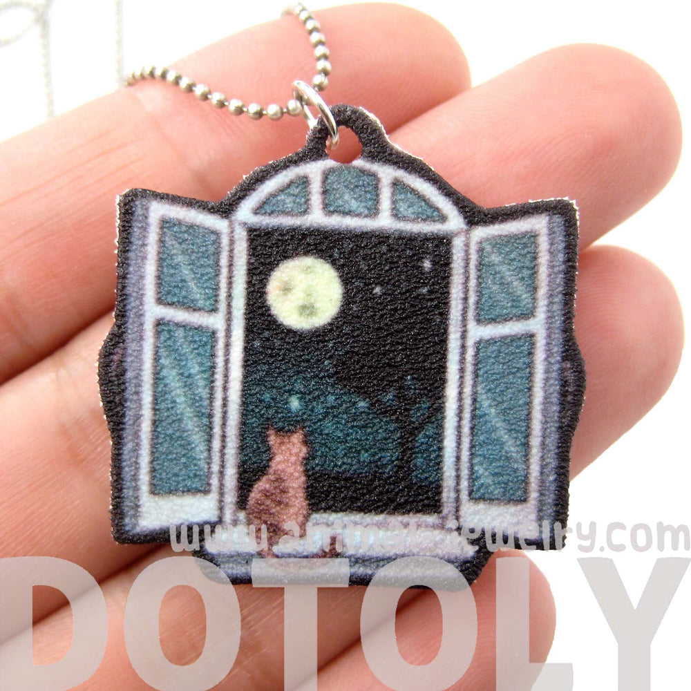 Kitty Cat Sitting by A Window Animal Pendant Necklace | Handmade Shrink Plastic | DOTOLY
