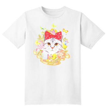 Kitty Cat Surrounded by Flowers and Butterflies Graphic Print Tee T-Shirt for Women | DOTOLY