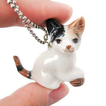 Kitty Cat With Ball of Yarn Ceramic Porcelain Animal Pendant Necklace | Handmade | DOTOLY