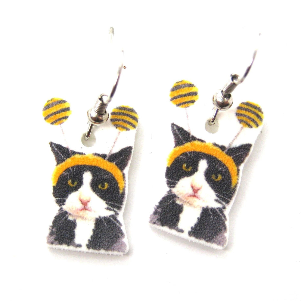 Kitty Cat with Headband Watercolor Animal Dangle Earrings | Handmade Shrink Plastic | DOTOLY