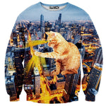 Kitty Catzilla City Lights All Over Graphic Print Pullover Sweater | Gifts for Cat Lovers | DOTOLY