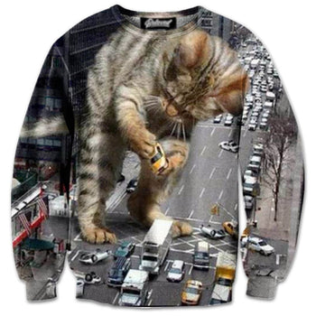 Kitty Catzilla Destroying NYC All Over Graphic Print Pullover Sweater | Gifts for Cat Lovers | DOTOLY