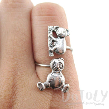 Koala and Panda Bear Wrap Around Adjustable Ring in Silver | DOTOLY | DOTOLY