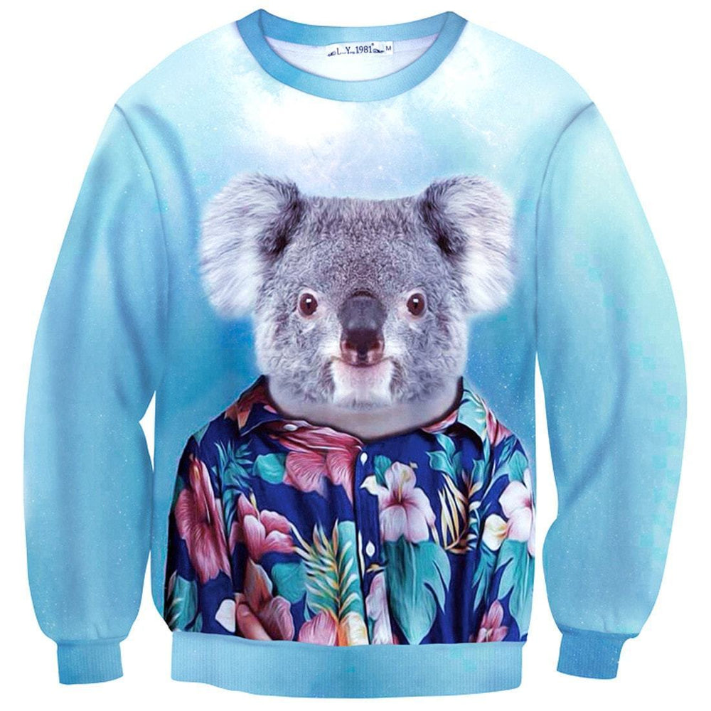 Koala Bear Dressed up in a Aloha Hawaiian Shirt Animal Portrait Print Sweater | DOTOLY