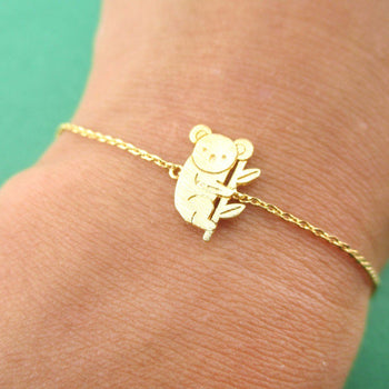 Koala Bear on a Branch Shaped Animal Charm Bracelet in Gold | DOTOLY
