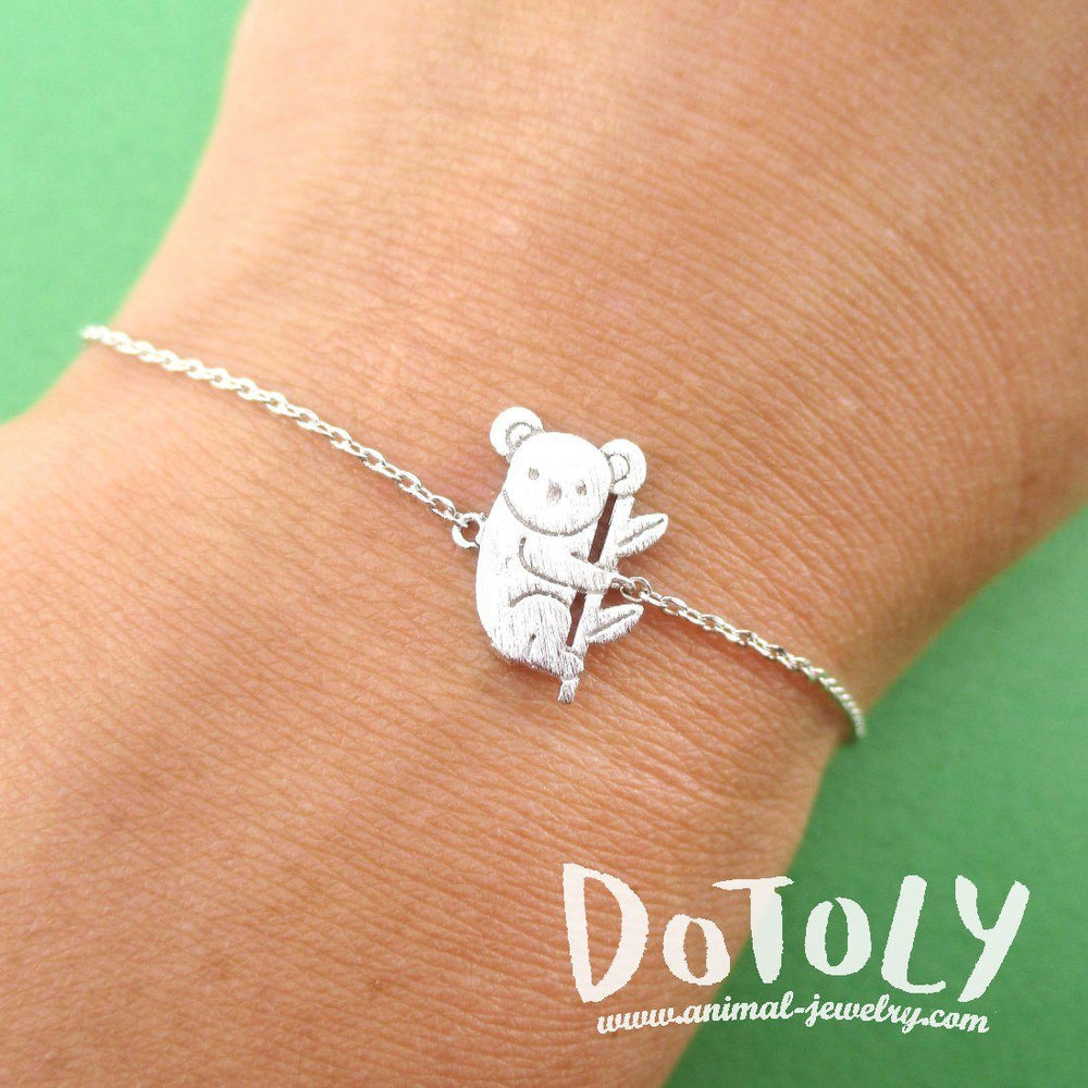Koala Bear on a Branch Shaped Animal Charm Bracelet in Silver | DOTOLY
