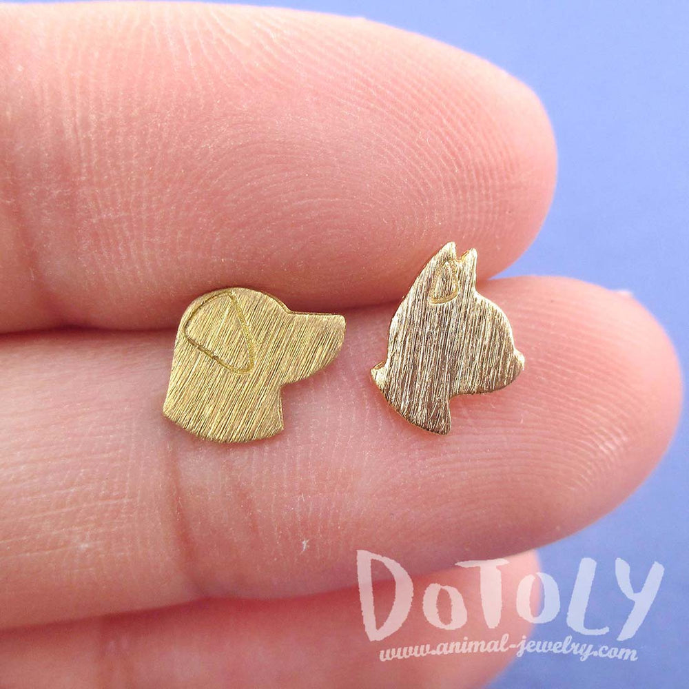 Labrador Retriever and Boston Terrier Dog Shaped Stud Earrings in Gold