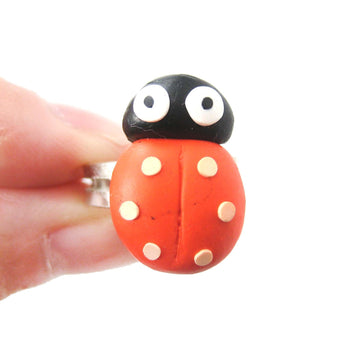 Ladybug Insect Bug Themed Polymer Clay Adjustable Ring | DOTOLY | DOTOLY