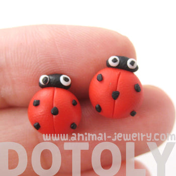 Ladybug Insect Bug Themed Polymer Clay Stud Earrings with Plastic Posts | DOTOLY | DOTOLY