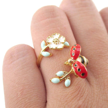 Ladybug on a Floral Branch Shaped Enamel Adjustable Ring | DOTOLY