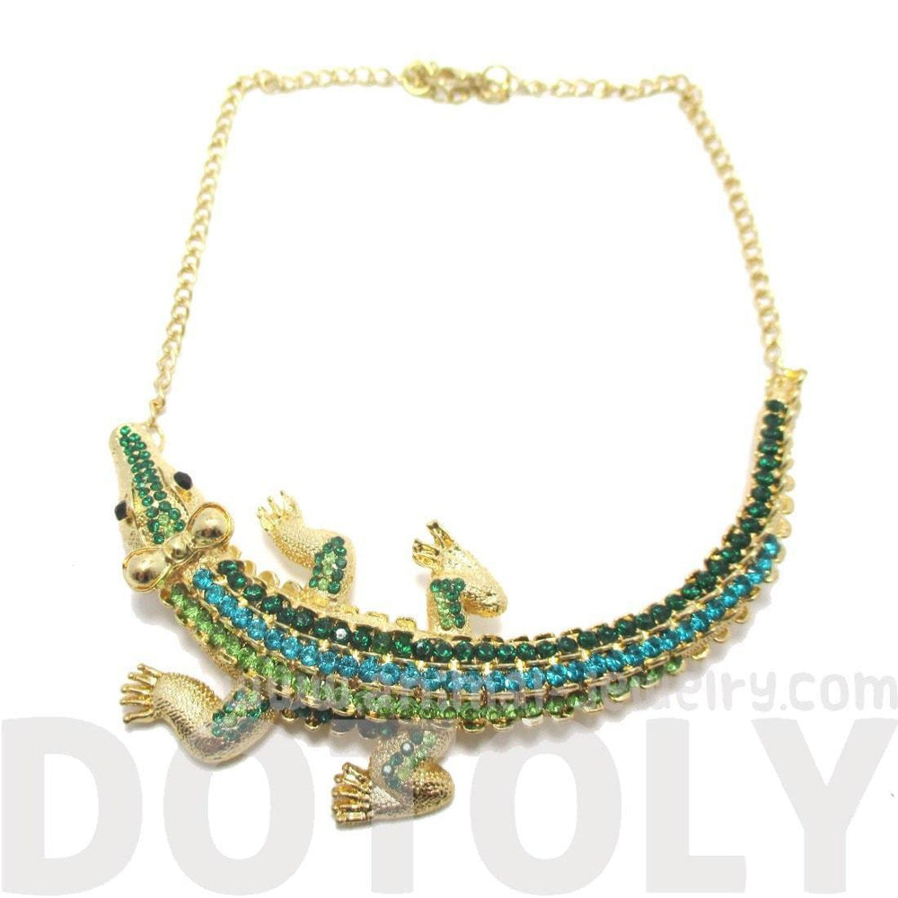 Large Alligator Crocodile Wrap Rhinestone Pendant Necklace
