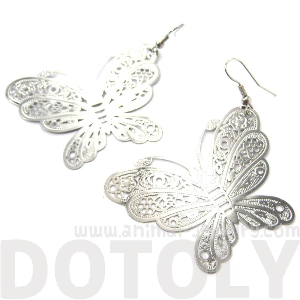 Large Butterfly Cut Out Shaped Dangle Drop Earrings in Silver | DOTOLYLarge Butterfly Cut Out Shaped Dangle Drop Earrings in Silver | DOTOLY