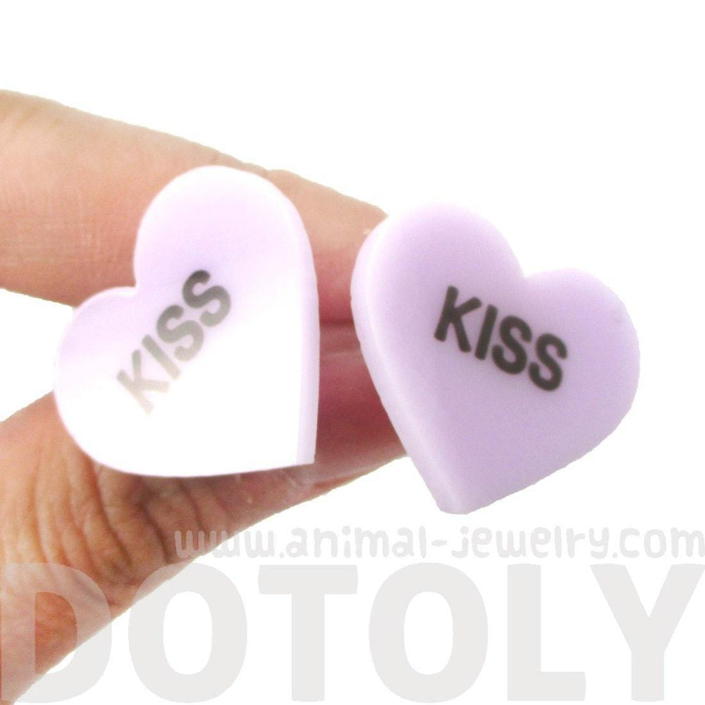 Candy Kiss Sweethearts Heart Shaped Laser Cut Stud Earrings in Purple