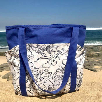 Blue Octopus Kraken All Over Print Large Carry All Shoulder Tote Bag