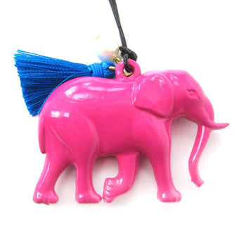 Large Colorful 3D Elephant Animal Pendant Necklace in Dark Pink