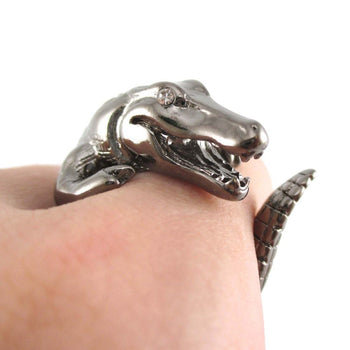 Crocodile Alligator Animal Wrap Ring in Gunmetal Silver