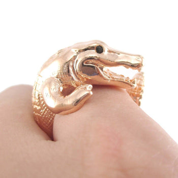 Crocodile Alligator Dragon Animal Ring in Shiny Copper