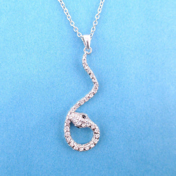 Large Dangling Snake Pendant Necklace in Silver with Rhinestones | DOTOLY