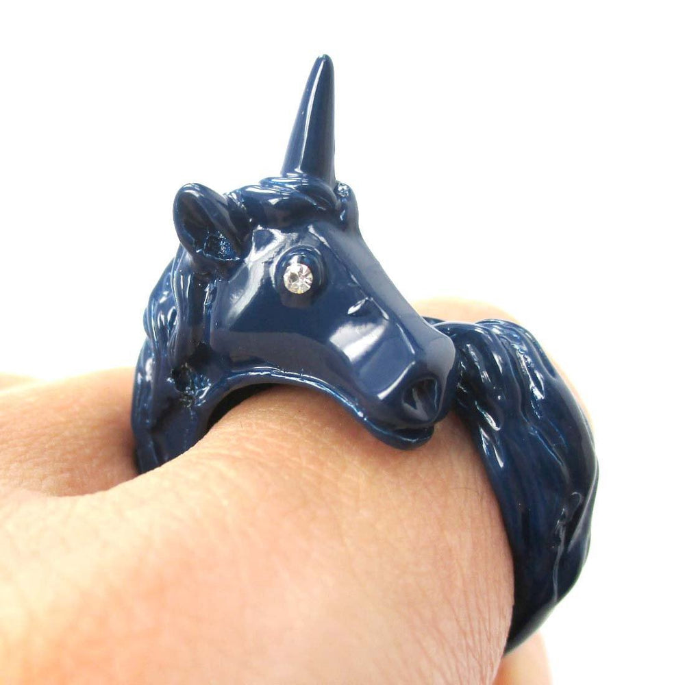 Large Detailed Unicorn Animal Wrap Around Ring in Navy Blue | DOTOLY