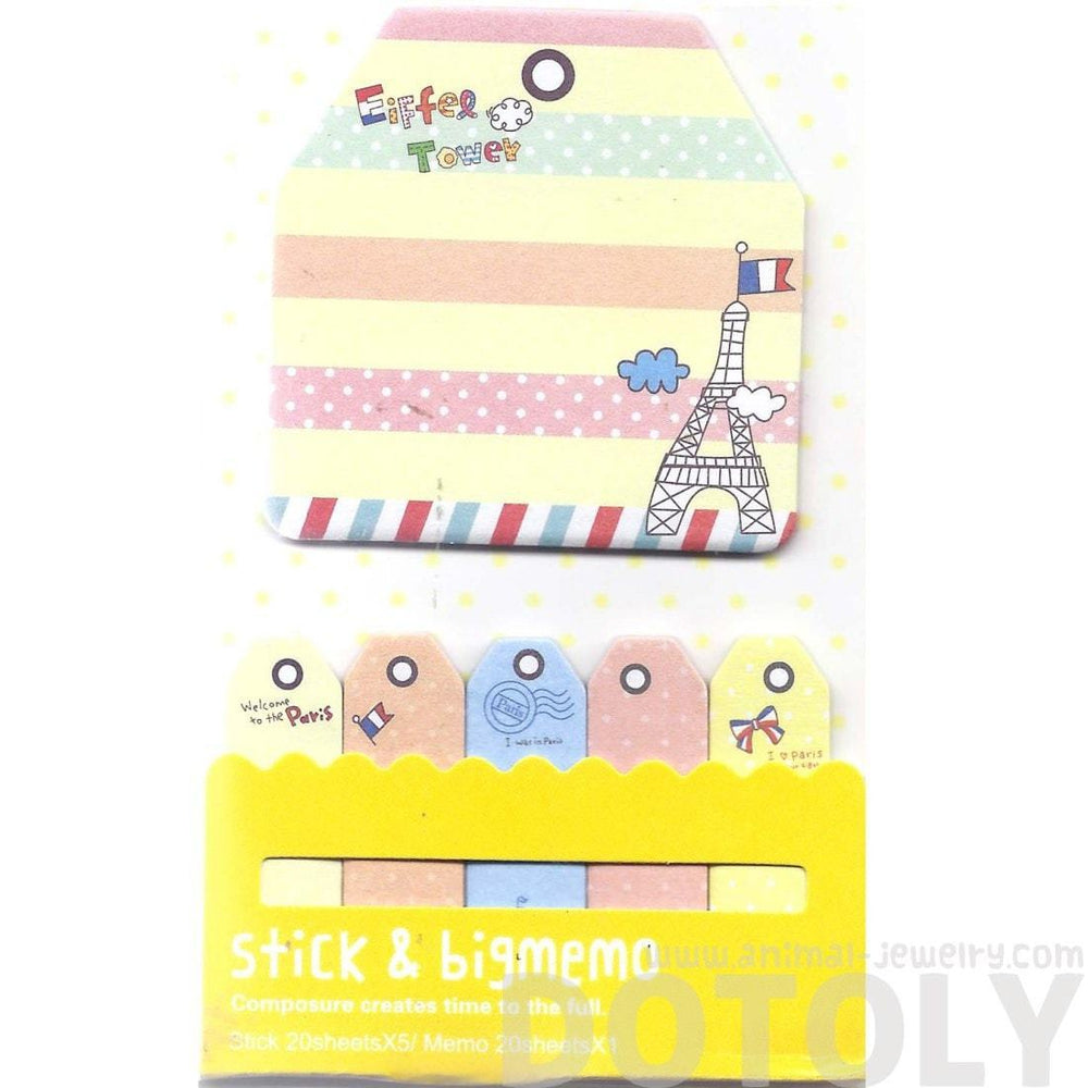Large Eiffel Tower Print Yellow Sticky Memo Pad Post-it Bookmark Tabs