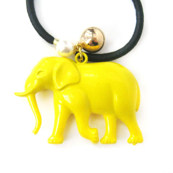 Large Elephant Pendant Hair Tie Pony Tail Holder in Yellow | DOTOLY