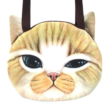 Large Ginger Kitty Cat Face Shaped Digital Print Shopper Tote Shoulder Bag | Gifts for Cat Lovers | DOTOLY