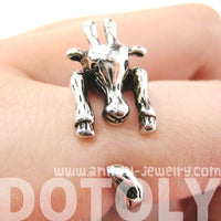 Large Giraffe Animal Wrap Around Ring in Shiny Silver - Sizes 4 to 9 Available | DOTOLY